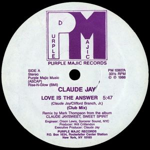 Claude Jay – Love Is The Answer (12″ Club Mix 1986) Artwork